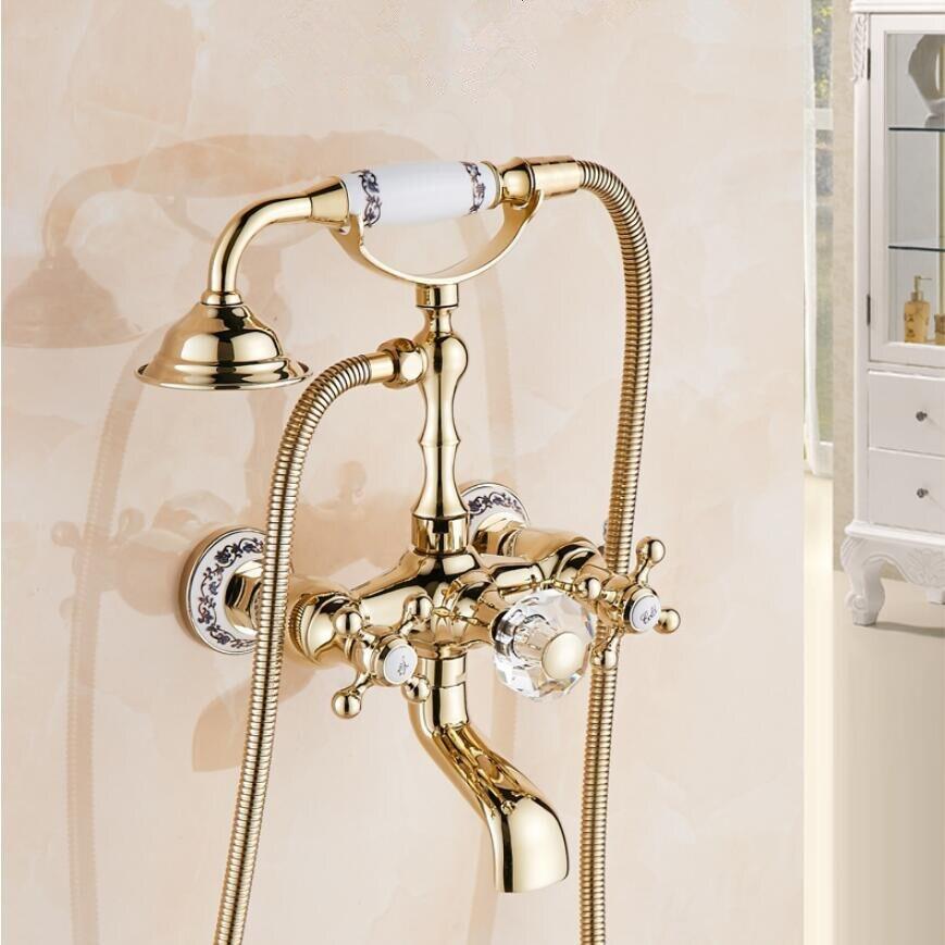 Silver Bathtub Faucet Brass Chrome Wall Mounted Rain Shower Faucet Hand Held 2 Handle Luxury Bathroom Crane Tap Set Shower Faucets