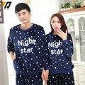 Amantes del invierno grueso traje de terciopelo visón suave a cuadros pijamas de dormir Coral Fleece pijamas noche estrella juego del desgaste