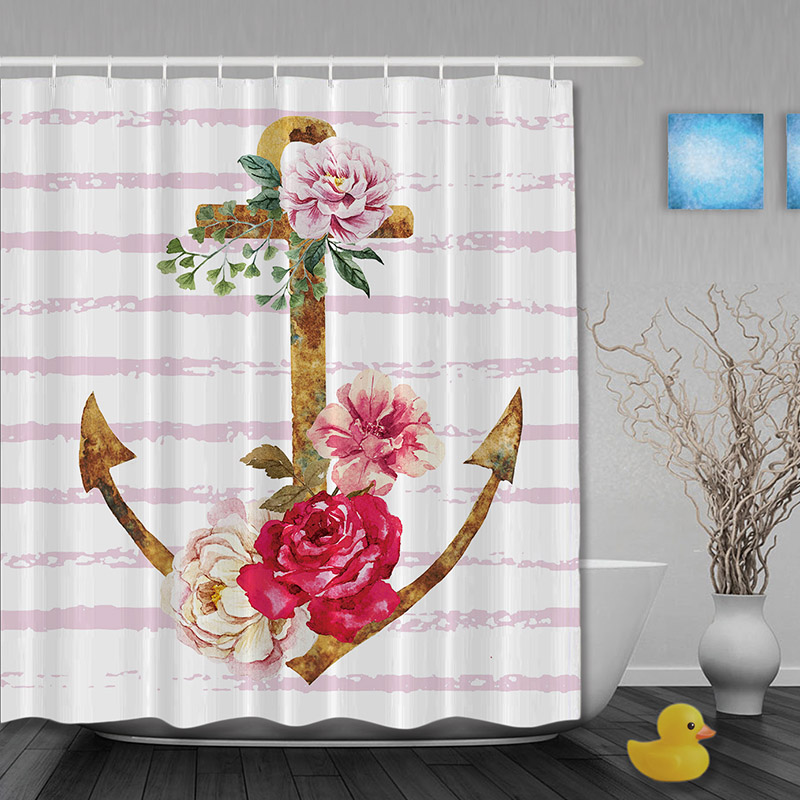 Pirate Style Pink Shower Curtain Vintage Anchor Roses Striped Curtains Waterproof Mildew Fabric Custom Bathroom