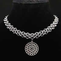 2019 mode Breite Edelstahl Neckless Frauen Runde Silber Farbe Halsketten & Anhänger Jewlery collier ras du cou N17885