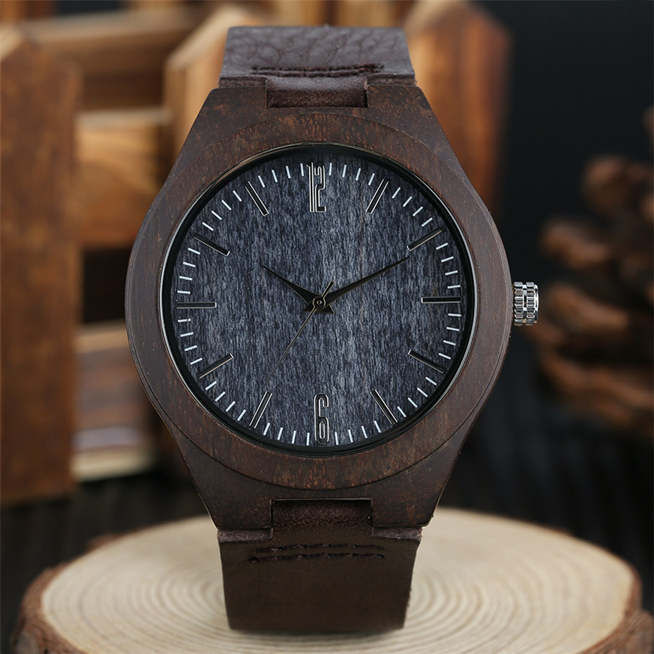 coffee color wood watch casual men07