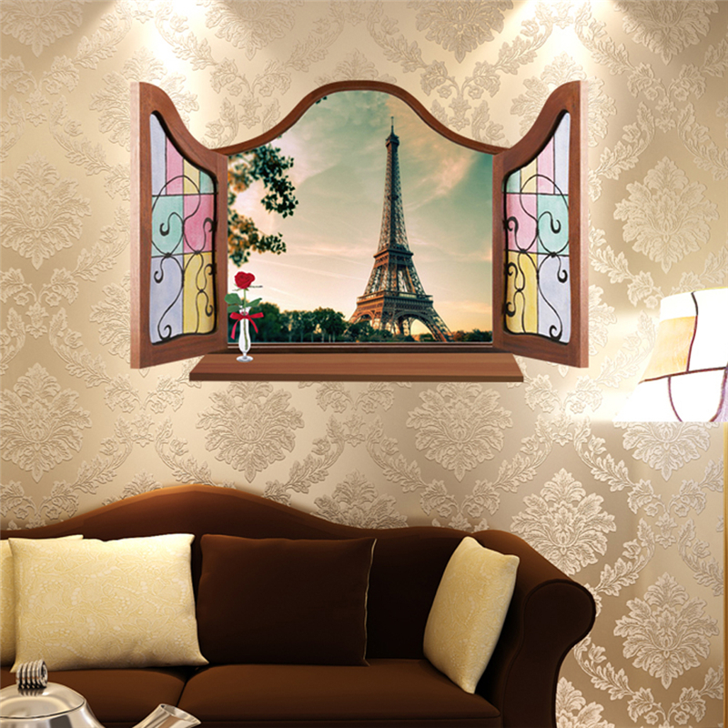Aliexpress Buy 3D Continental Europe window view Eiffel Tower Venice Snow Maple home decal wall sticker for new house living room bedroom deocr from