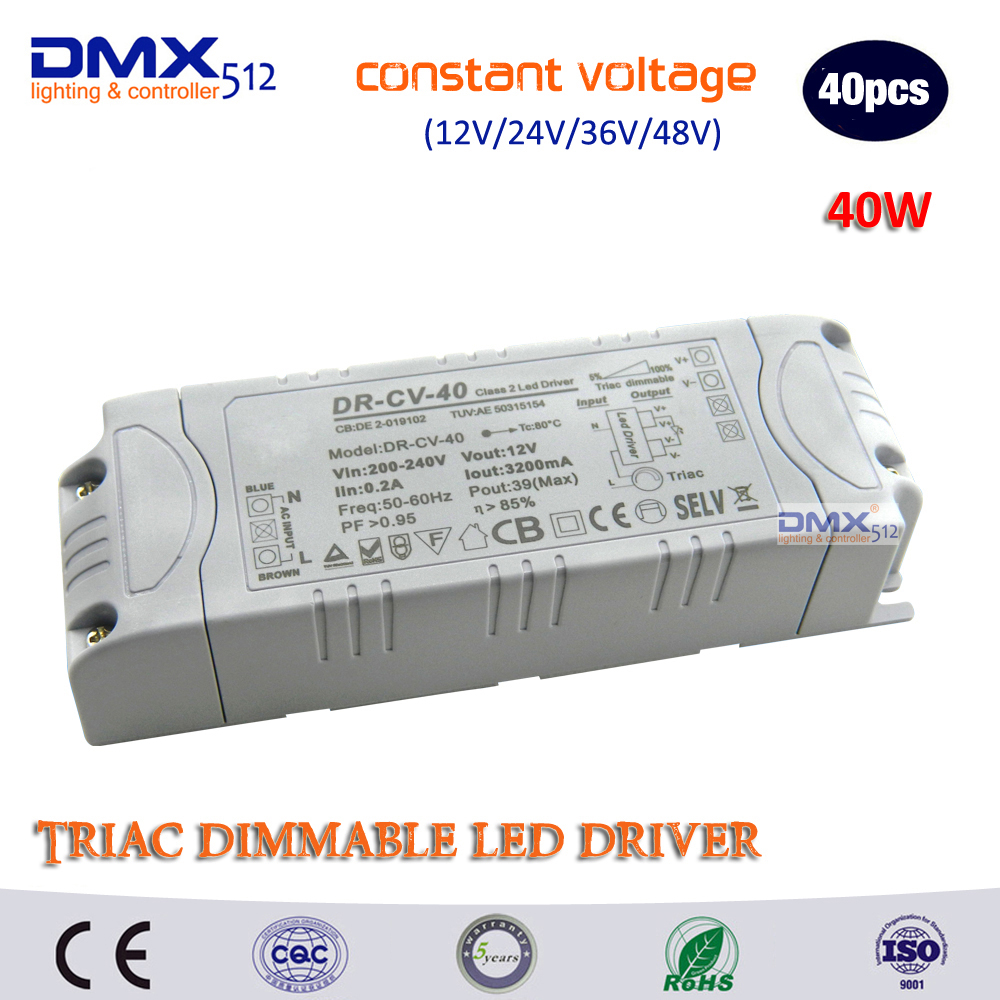 DHL free shipping 40W Dimming transformer Input AC100- 240V output DC12V/24V Triac Dimmable driver supply for led lamps dimmable free shipping hard wired exquisite led study lamps elegant chrome finish universal volts ac100 240v 360mm hose flexible