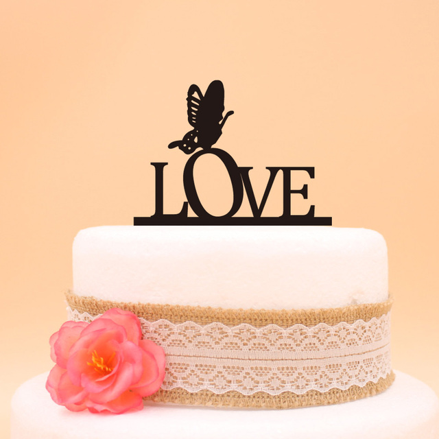 wedding cake decor LOVE with butterfly engagement Cake Topper ...