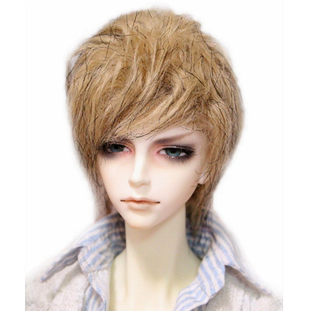 [wamami]Fashion Light Brown and Black Wool Wig Hair DOD MSD 1/4 BJD Dollfie 7-8 25cm 100cm doll wigs hair refires bjd hair black gold brown green straight wig thick hair for 1 3 1 4 bjd diy