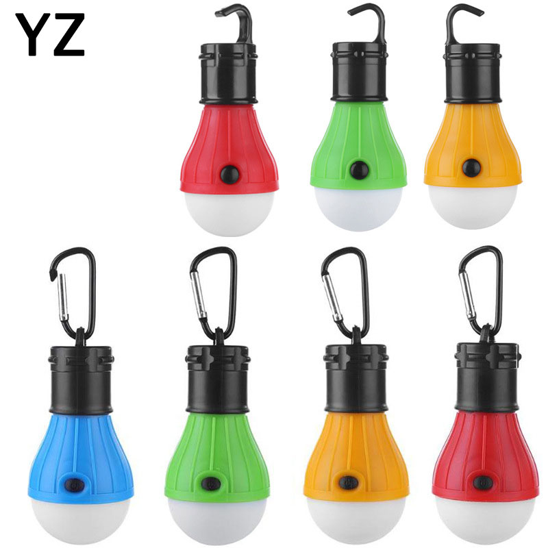 Outdoor Mini Portable Waterproof Lantern Tent Light LED Bulb Emergency Lamp Hanging Hook Flashlight For Camping 4 Colors 3*AAA