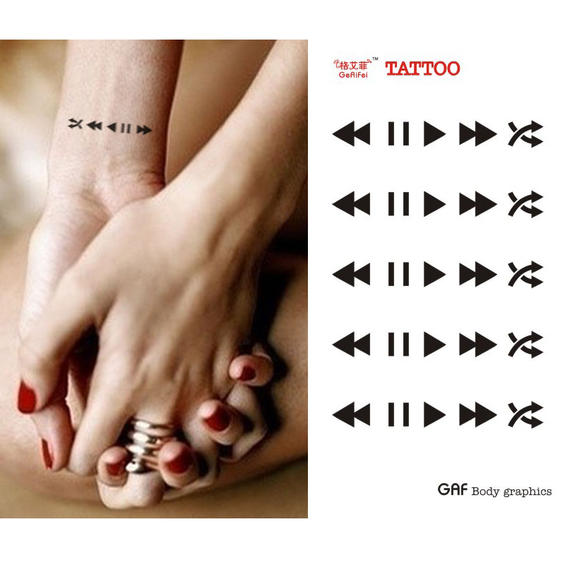 Tattoo Stickers Wrist Length Music Player Button Personalized