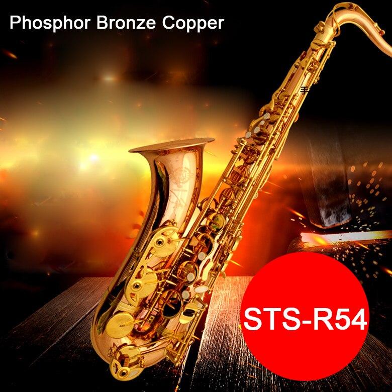 Saxofón Tenor profesional Selma STS 54 B (b) saxo plano fosforoso bronce cobre saxofón instrumento musical boquilla con funda