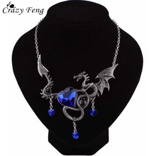 Crazy Feng Vintage Designer Maxi Heart Pendant Necklace Women Punk Gothic Red Blue Big Crystal Fly Dragon Necklace Jewelry Gift