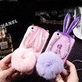 Luxury Rhinestones Rabbit Ear Girl Case For Huawei Honor P8&P8 Lite case rabbit fur ball phone cases girl favorite cover SJK1231