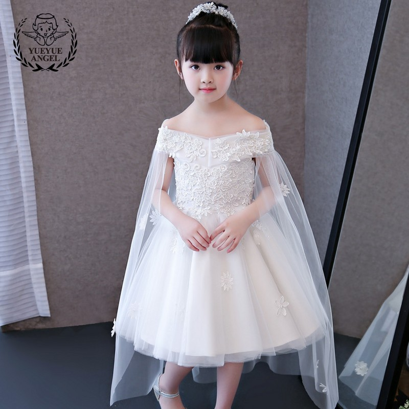 White Wedding Party Dress For Girl Off Shoudle Lace Dress Girl Princess Party Dresses Girls Kid Clothes Tulle Vestidos Infantil kids flower girls dresses pageant vestidos bebes lace tulle kid girl party dress for wedding children summer clothes birthday