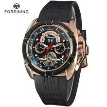 4 Colores FORSINING Tourbillon Reloj Mecánico Automático de Lujo Para Hombre Relojes Deportivos De Caucho Superior Hombres masculino relógio esportivo