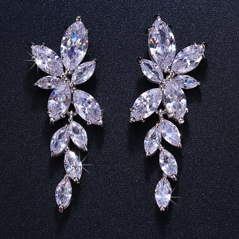 LXOEN Marquise Cut Flower Zirconia Crystal Long Drop Earrings for Women Shiny Leaf CZ Stone Bridal Wedding Jewelry 9