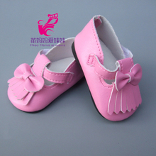 18-inch doll 7cm leather Pink Shoes Fit for 43CM baby Dolls sneacker Reborn Baby Doll