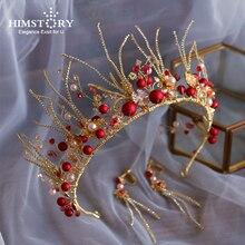 Himstory European Baroque Red Beads Wedding Tiaras Crown Handmade Crystal Headpieces Brides Pearls Headband Party Hair Accessory