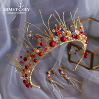 Himstory European Baroque Red Beads Wedding Tiaras Crown Handmade Crystal Headpieces Brides Pearls Headband Party Hair Accessory