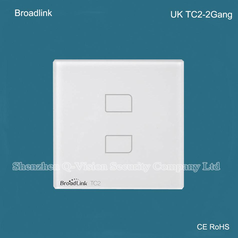 UK Standard Broadlink TC2  2 Gang Wireless Remote Control Wifi Wall Light Touch Screen Switch Smart Home 110V-240V RF433  RM PRO