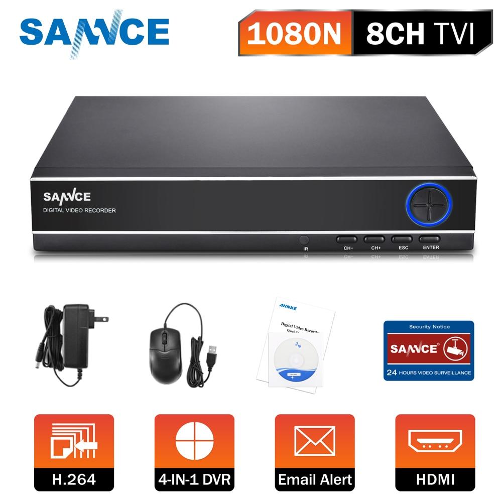 Nouveau SANNCE DVR Numérique Enregistreur 8CH 4 DANS 1 1080N CCTV DVR Système de Sécurité Maison Pleine H.264 HDMI p2p nuage motion détection ONVI