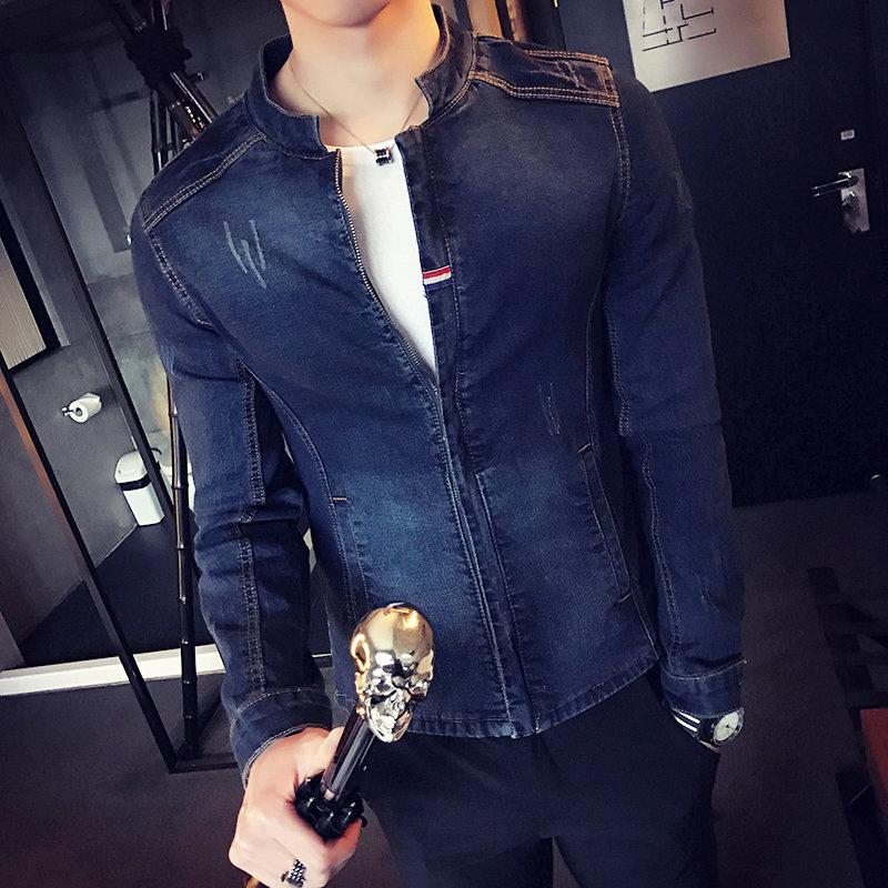 Hohe Qualität Solide Herren Jacke 2018 Mode Herbst Bomber Jacke Männer Dünne Denim Jacken Für Männer Stehen Kragen Mantel Männlich plus Größe - 2