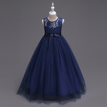 33155731019 Bleu marine petites filles robes princesse dentelle fleur fille robes 2019  Tulle filles Peagant robes première Communion robes
