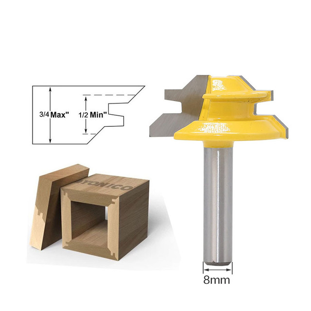 1Pc 45 Degree Lock Miter Router Bit 8Inch Shank Woodworking Tenon Milling Cutter Tool Drilling Milling For Wood Carbide Alloy 2