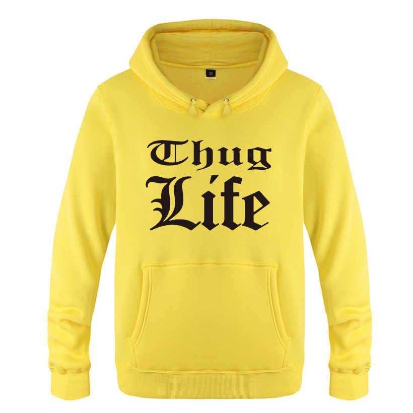 Thug Life Tupac 2PAC Rock Rap Hoodies hombres 2018 hombres pulóver polar con capucha sudaderas
