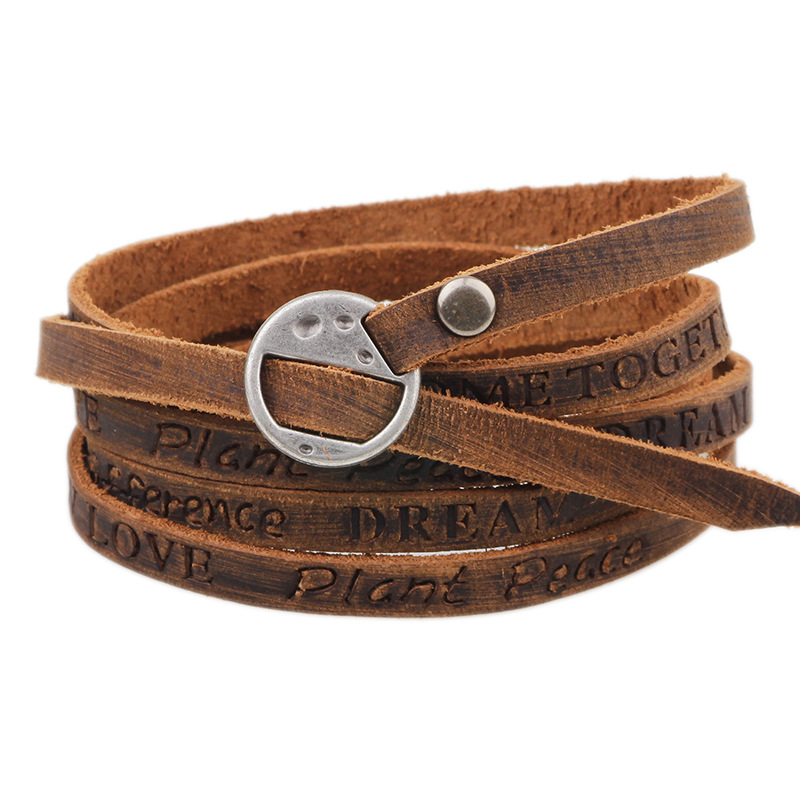 Kirykle Vintage Bohemian style jewelery multilayer wrap genuine leather bracelet for men and women Embossing letter bracelet(China)