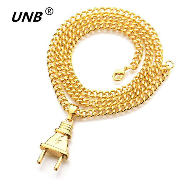 UNB 2017 New Gold-color Electrical Plug Shape Pendants Necklaces Men Women Hip Hop Charm Chains Iced Out Bling Jewelry Gifts 1