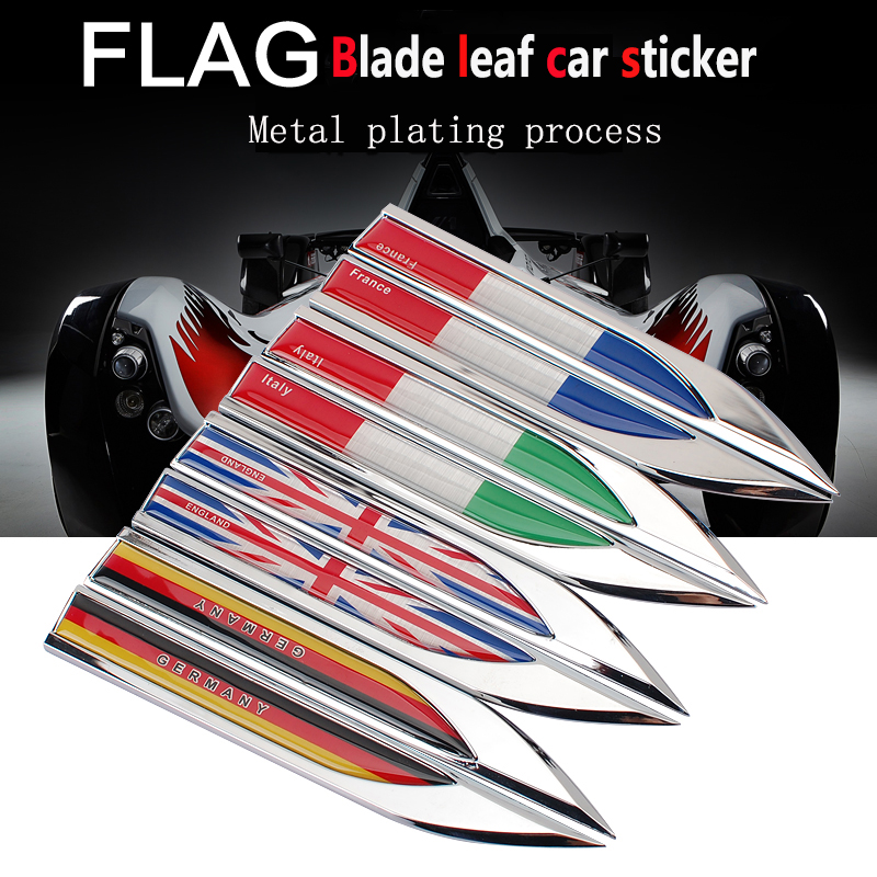 Car styling Flag shaped fender side metal blade car sticker car accessories for polo tiguan golf 7 4 6 passat b6 b5 b7 touran
