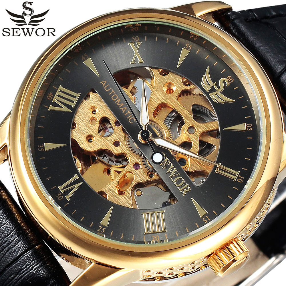 SEWOR Gold Automatic Mechanical Watch Mens Skeleton Watches Top Brand Luxury Clock Leather Business Watch Relogio Masculino automatic watch men rose gold mens watches top luxury brand read mechanical leather wristwatches skeleton male clock man relogio