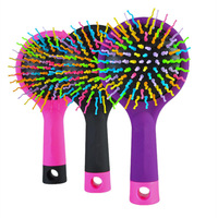 1 Piece Hot Selling Rainbow Volume Anti-static Magic Hair Curl Straight Massage Comb Brush Styling Tools colorful
