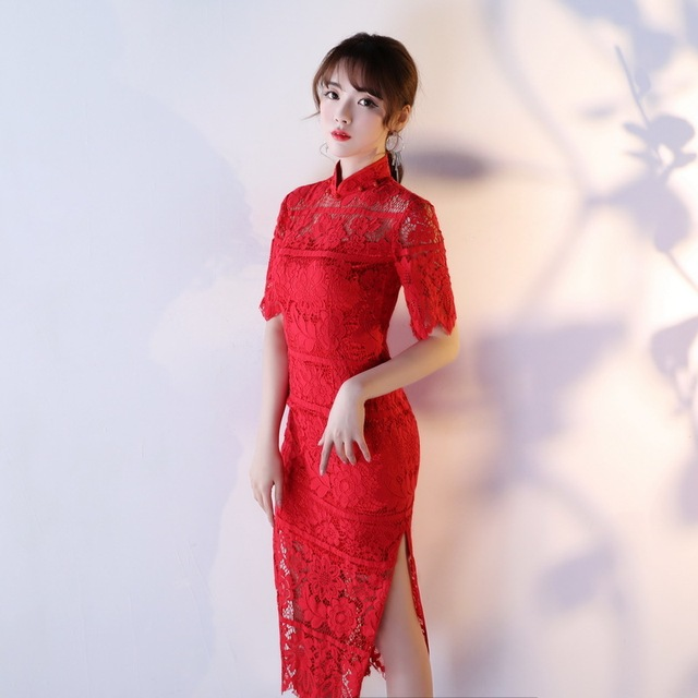 Bride Lace Cheongsam Dress 2018 Red Qipao Sexy Chinese Evening