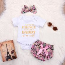 Summer Baby Girl Casual Short Sleeve Cotton Romper Tops Floral Pattern Briefs Shorts With Headband Outfits Set