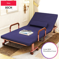 80cm Wide Folding Bed with Mattress Bedroom Furniture Rollaway Guest Bed for Adults and Kids Portable Metal Folding Bed Single