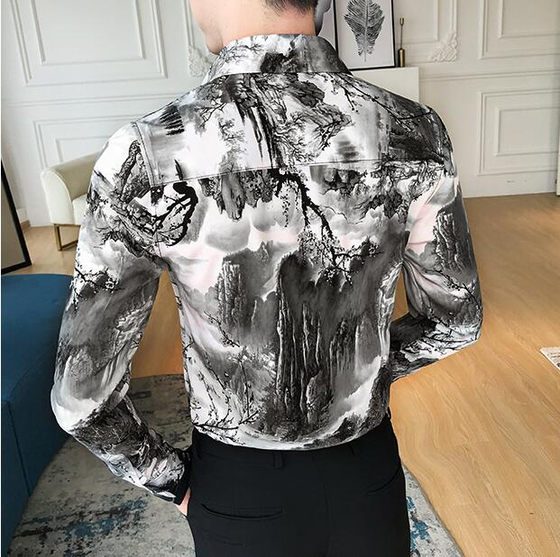 Korean Slim Fit Men Shirt Brand New Long Sleeve Print Mens Casual Shirts Night Club/Party/Prom Dress Shirt Male Clothing 3xl