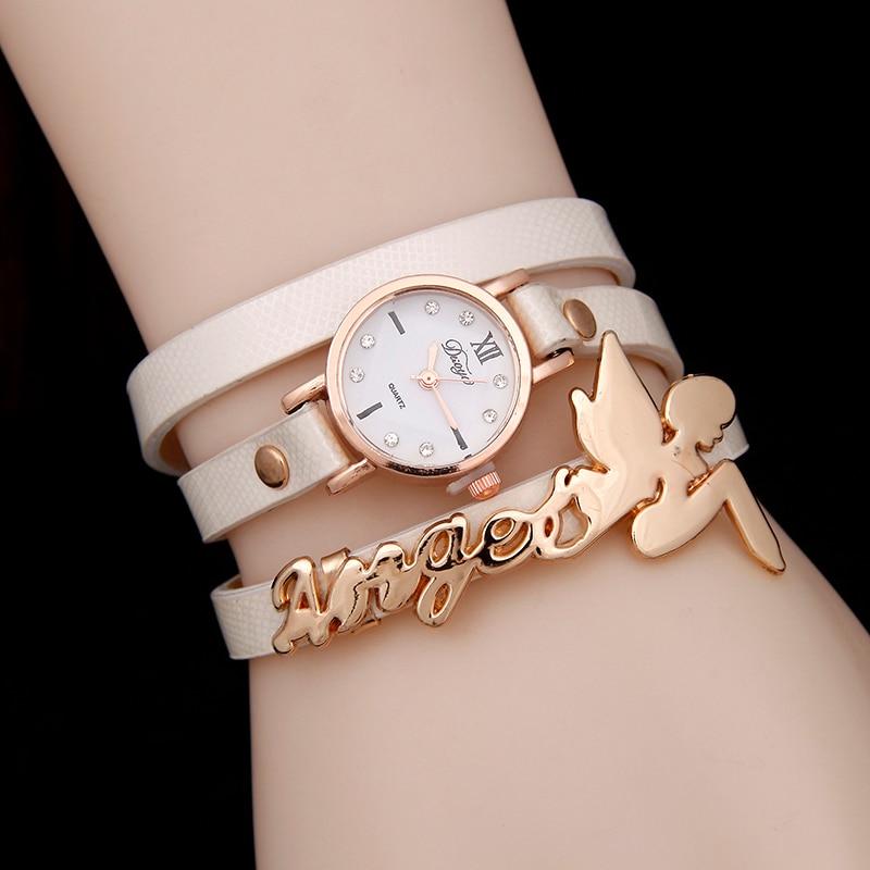 Hot selling fashion leather watch women bracelet watch pretty angel baby quartz watch three circels winding