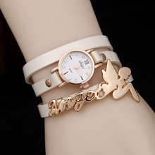 Venta caliente de la manera mujeres del reloj de cuero reloj pulsera bastante ángel reloj de cuarzo de tres circels sinuoso reloj fábrica directa