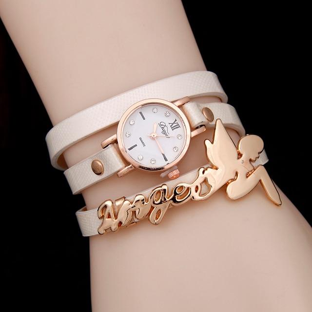 Hot selling fashion leather watch women bracelet watch pretty angel baby quartz