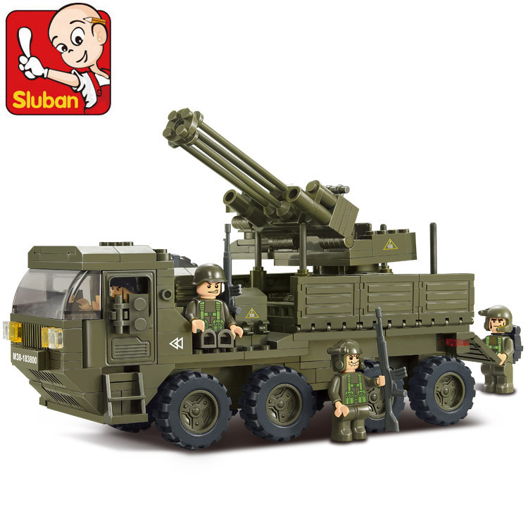 Sluban heavy transport truck army antiaircraft artillery Assembled Plastic Model Building Blocks Bricks Compatible With Lego надувная кровать intex essential rest airbed queen 64140