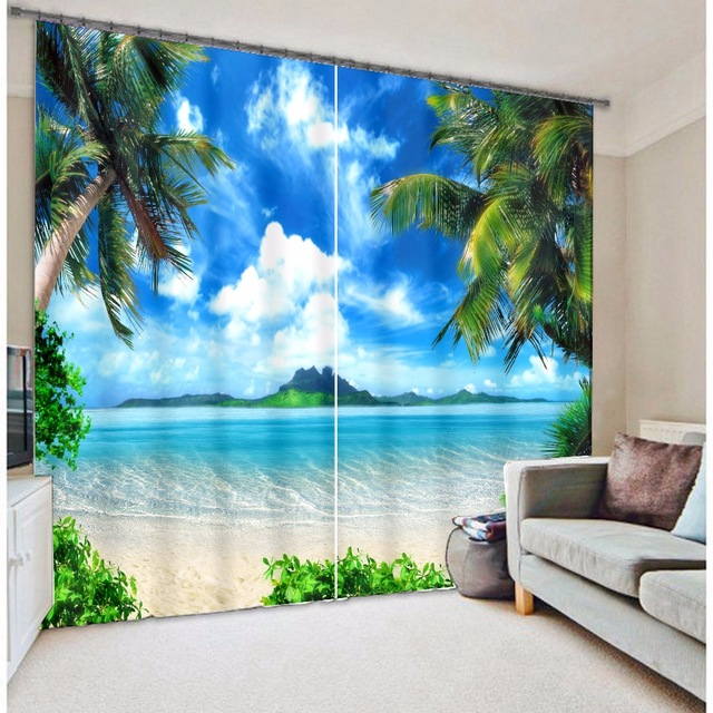 Cool Beach Digital Print 3d Blackout Curtains For Living