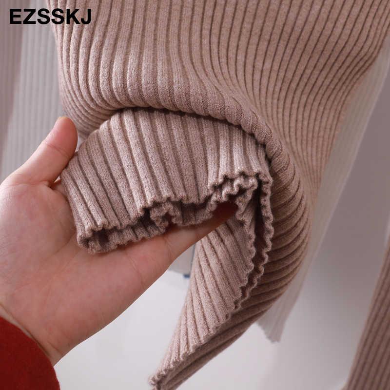 2020 기본 v-목 솔리드 가을 겨울 스웨터 풀오버 여성 여성 니트 스웨터 슬림 긴 소매 badycon 스웨터 저렴한