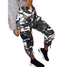 Camouflage Pants Womens Casual Cargo Joggers Trousers Hip Hop Rock Ankle-Length Femme Trouser Camo pantalones