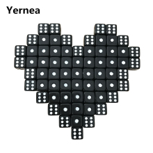 Yernea 100Pcs/Lot 10mm Acrylic Black Dice White Dot Hexahedron RPG Set Club Party Game Puzzle Wholesale