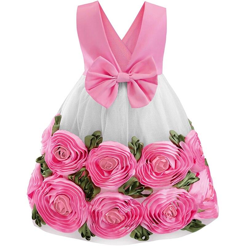 Filles 3D fleur princesse robe 2019 été enfants robes pour filles anniversaire enfant fête col en v robe de pâques costume vestidos
