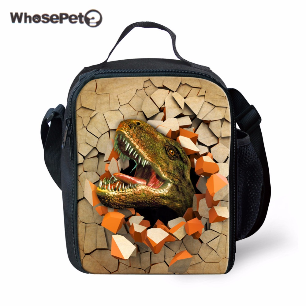 WHOSEPET Portable Insulated Food Bags for School Boys Girls Lunch Bags Kids Spring Tour Picnic Bags Tote 3D Dinosaur Printing