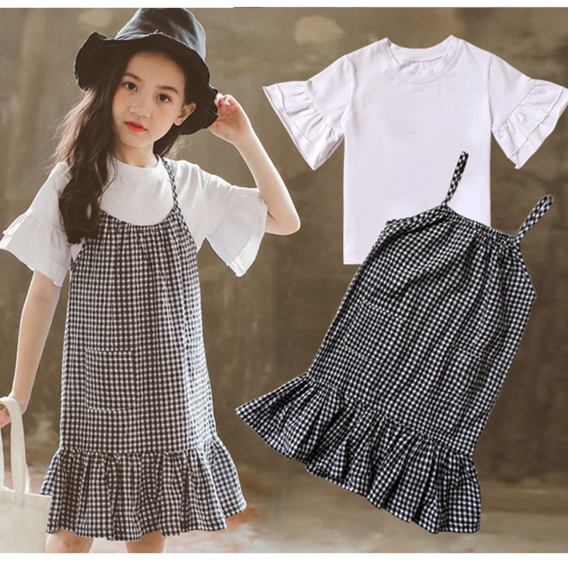 plaid dress two piece set 2018 toddler girls clothing sets big girls fashion girls summer clothes size 7 10 12 14 6 5 8 9 years