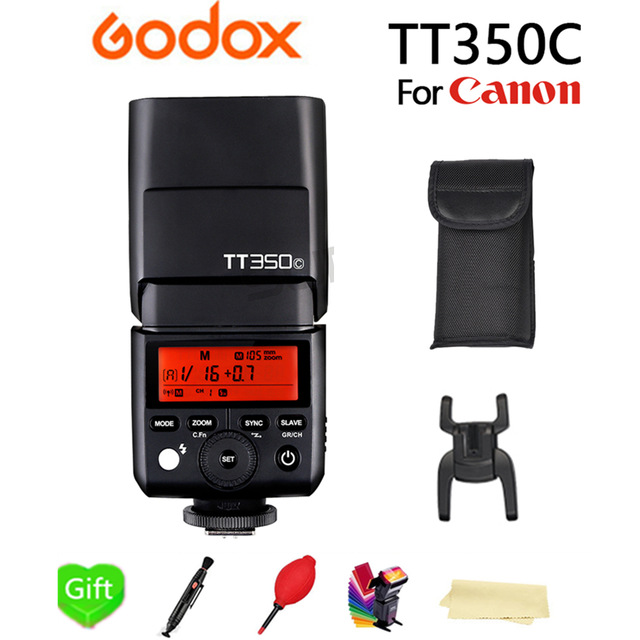 Godox TT350C Flash TTL Wireless X System Camera Flash Speedlite GN36 1/8000s HSS 2.4G Pocket lights for Canon DSLR Camera + Gift цена и фото