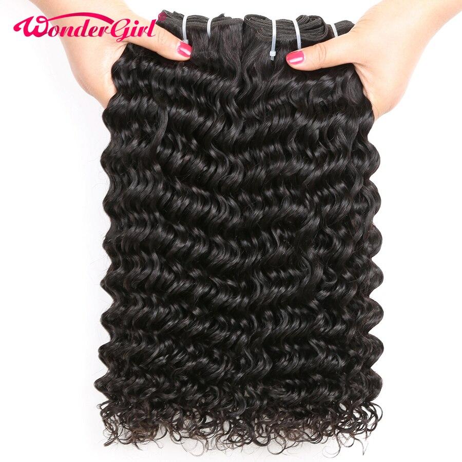 Péruvienne Vague Profonde Bundles 100% de Cheveux Humains Weave 3 Bundle Offres Remy Extension de Cheveux 8-28 Pouce 1B/naturel Couleur Wonder girl