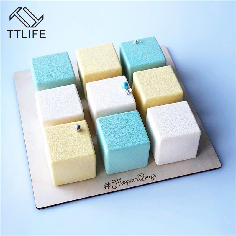 TTLIFE 1PCS 9 Cavity Square Shape Cake Silicone Mold for Baking Dessert Ice-Creams Mousse Mould Fondant Pastry Decorating Tools
