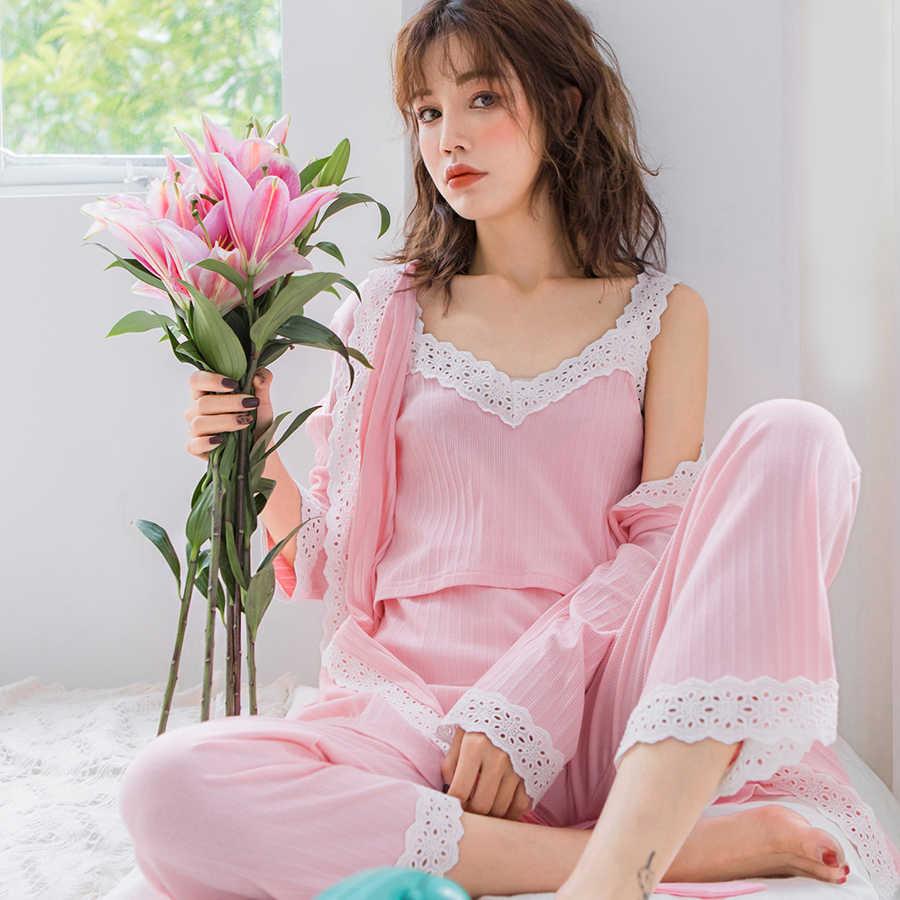 e5084614a49a9 ... 2019 Spring Nursing Pajamas Korean Cotton Sexy 3Pcs/Set Maternity  Sleepwear Postpartum Breastfeeding Pregnancy Nightwear ...